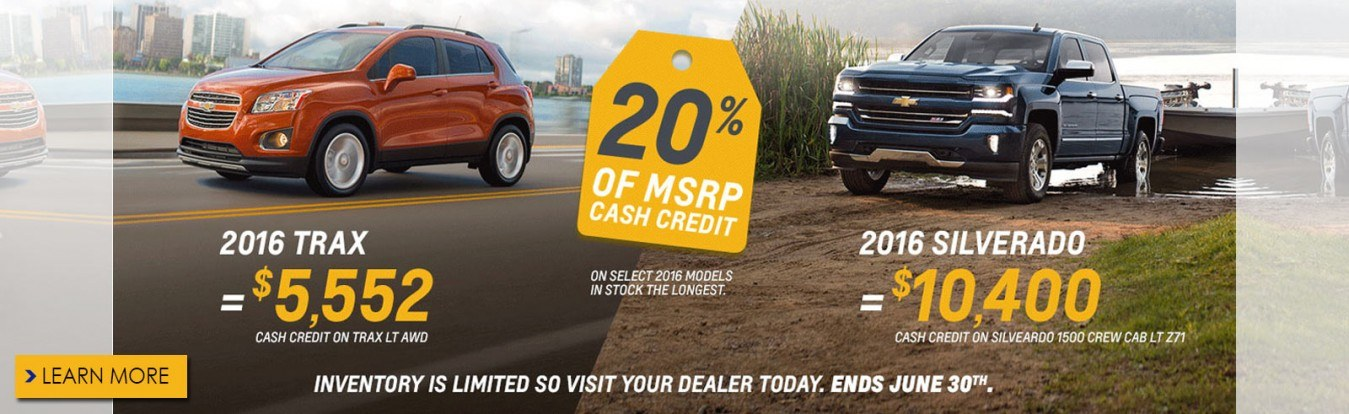 Get 20% of the MSRP cash credit on select new Chevrolet cars, trucks and SUVs from Georgetown Chevrolet