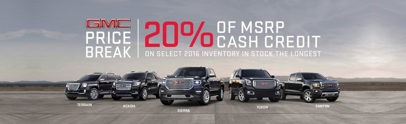 Get 20% of the MSRP cash credit on select new GMC trucks and SUVs from Georgetown Chevrolet