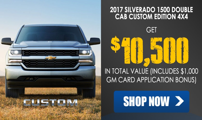 Get $10,500 off a 2017 Chevrolet Silverado 1500 Double Cab Custom 4x4 pickup truck in Georgetown