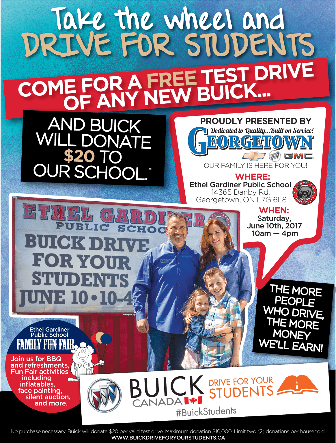 Test drive a new Buick. Help Buick donate up to $10,000 for our school