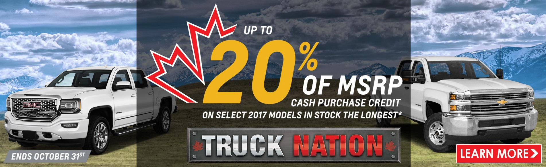 Enjoy 20% off MSRP cash purchase credit on select remaining 2017 cars, trucks and SUVs plus great deals on new trucks in Georgetown from Georgetown Chevrolet Buick GMC