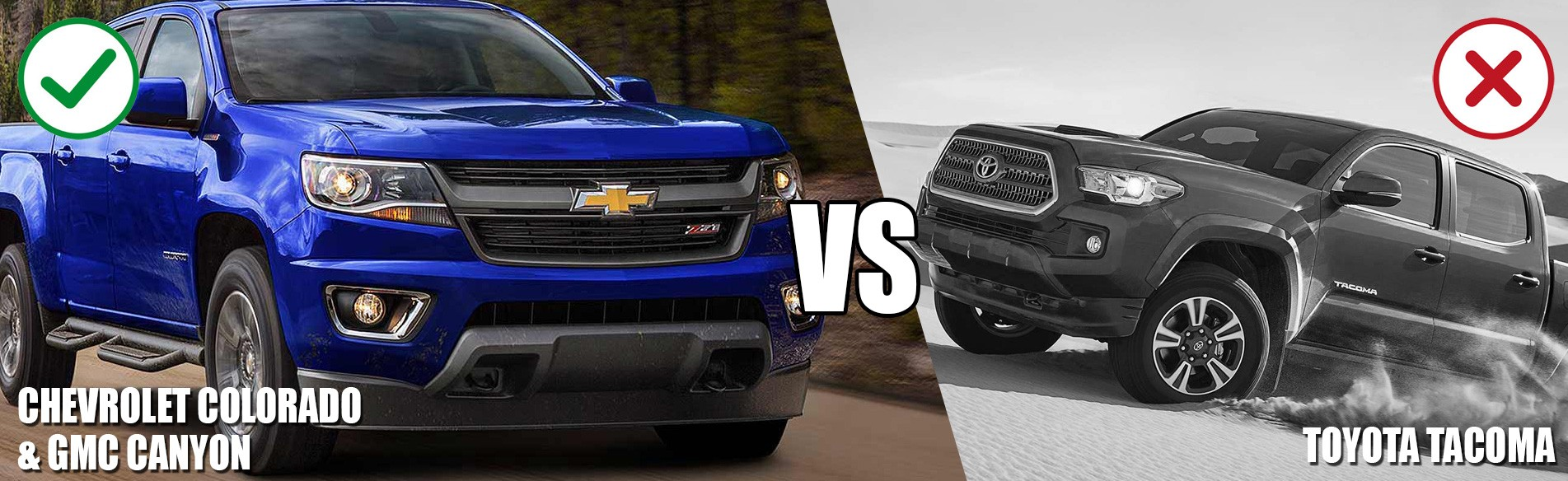 Compare the Toyota Tacoma truck vs the Chevrolet Colorado or GMC Canyon pickup truck in Georgetown and the GTA