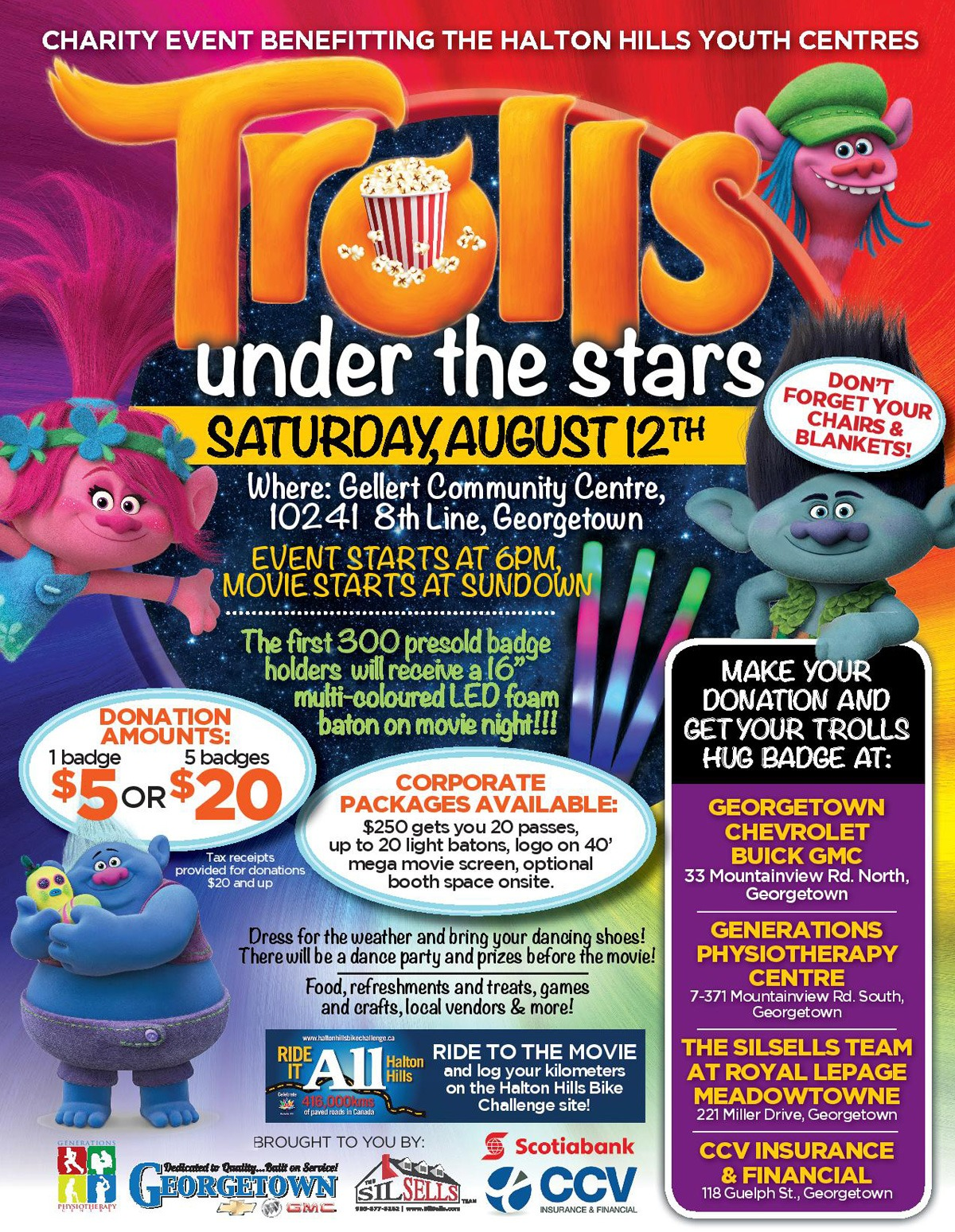 Come enjoy Trolls under the stars with Georgetown Chevrolet Buick GMC with all proceeds going to support the Halton Hills Youth Centres