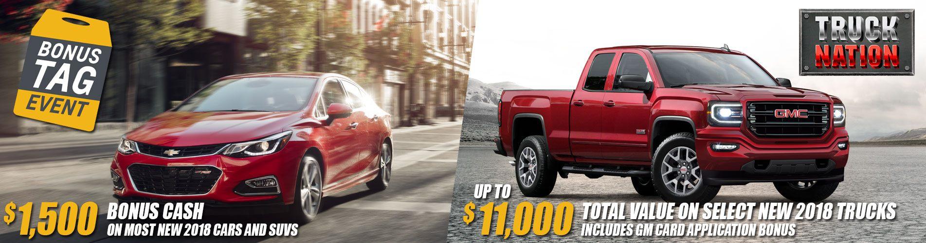 Chevrolet Buick GMC Bonus Tag Event plus Truck Nation Sale on new Chevrolet Buick GMC cars, trucks and SUVs