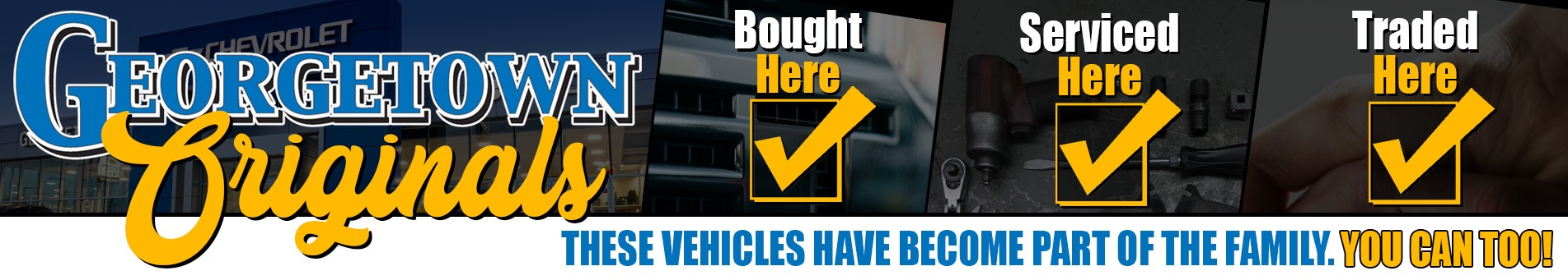 Original Used Cars that have been bought, serviced and traded right here in Georgetown at Georgetown Chevrolet, your Pre-Owned car, truck and SUV superstore